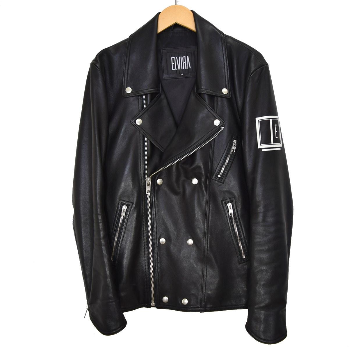 【中古】ELVIRA ダブルライダースジャケット ブルゾン ブラック サイズ:M 【300820】(エルビラ)