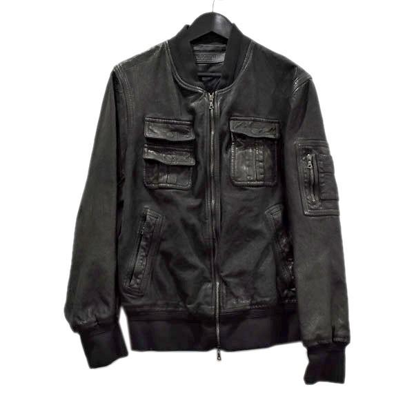 【中古】Neil Barrett バッファローレザージャケット SKINNY FIT BPE362-1752 ブラック サイズ:S 【310820】(ニールバレット)