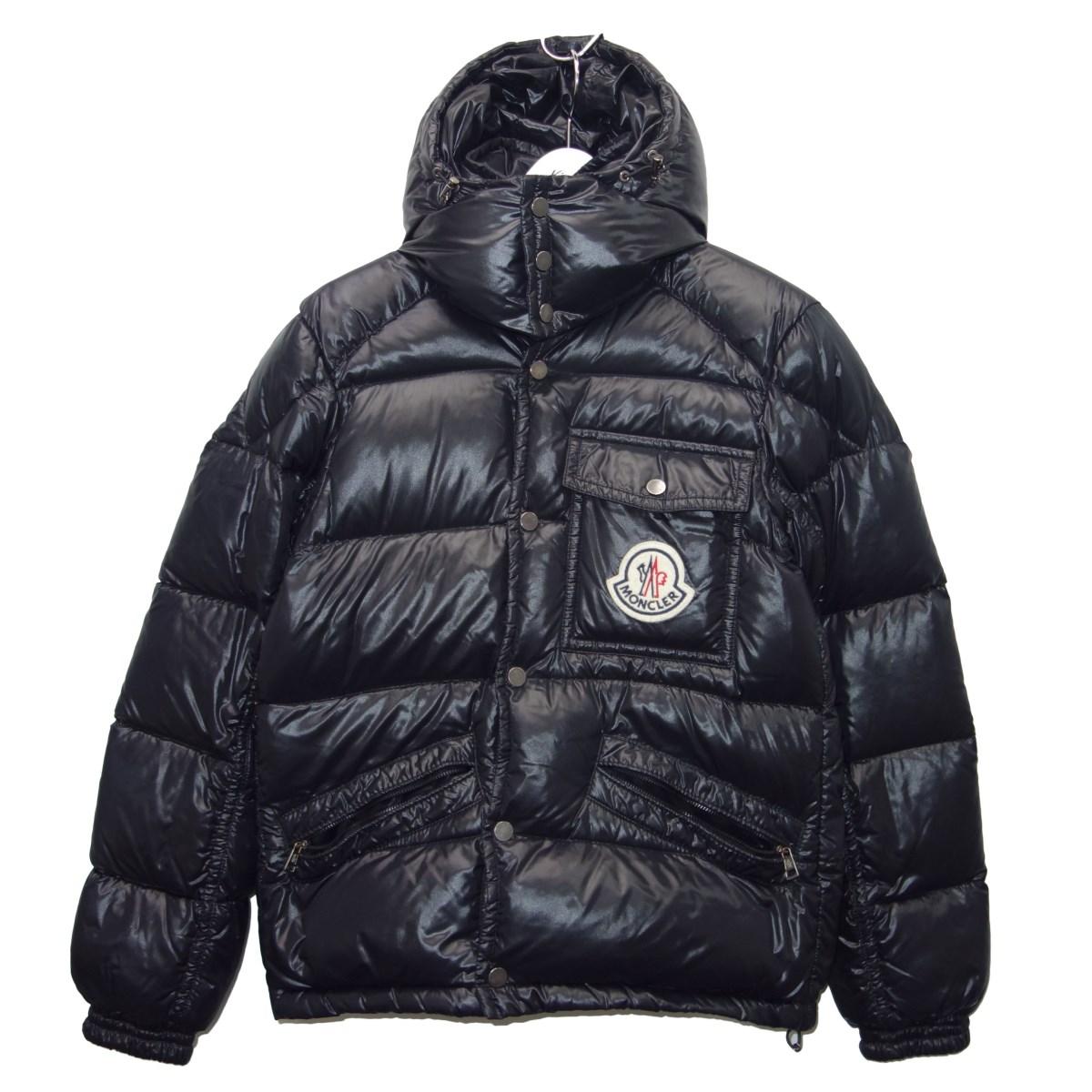【中古】MONCLER 「K2」デカワッペンダウンジャケット ブラック サイズ:1 【310820】(モンクレール)