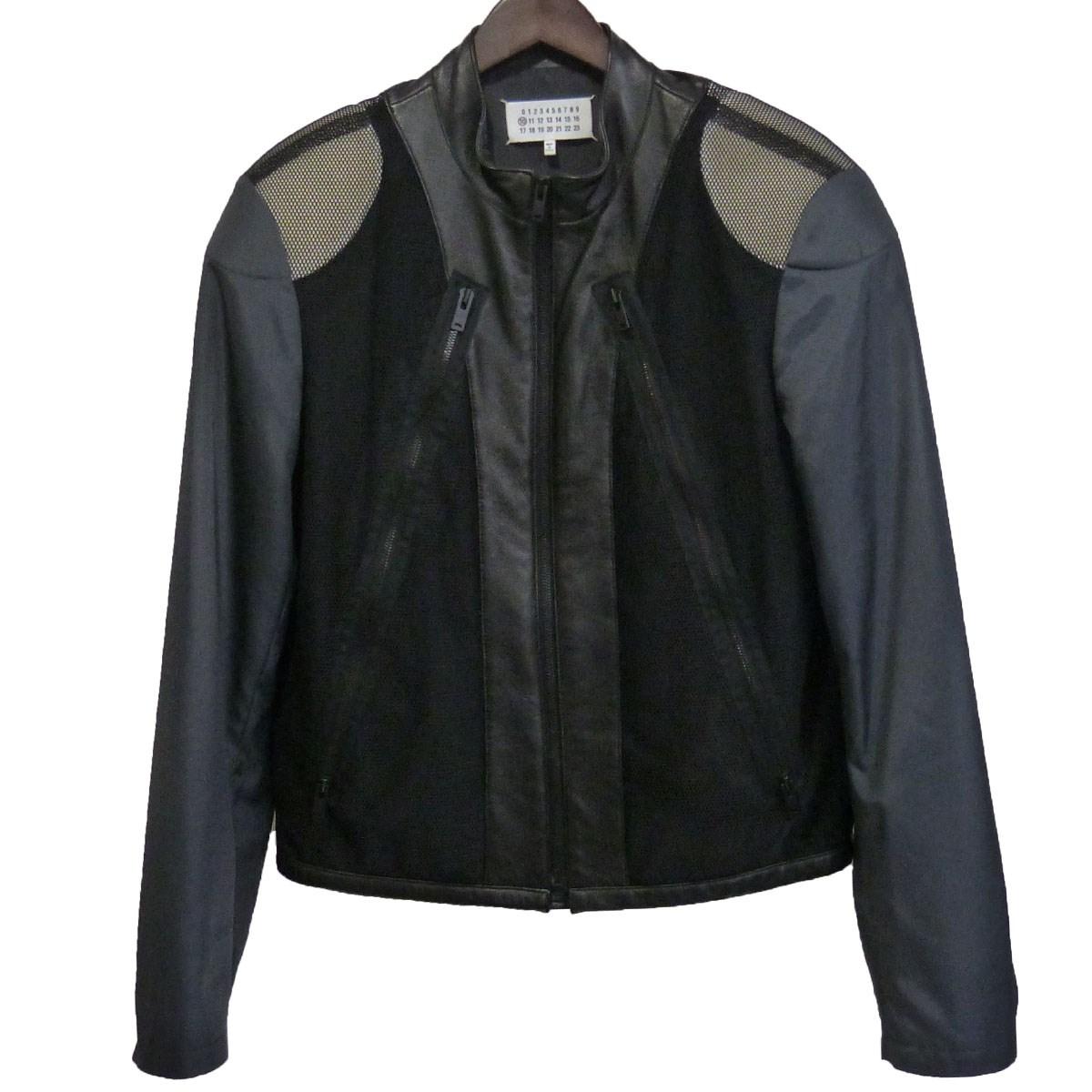 【中古】Maison Margiela 10 16SS 異素材切替八の字ライダースジャケット ブラック サイズ:48 【010920】(メゾンマルジェラ10)