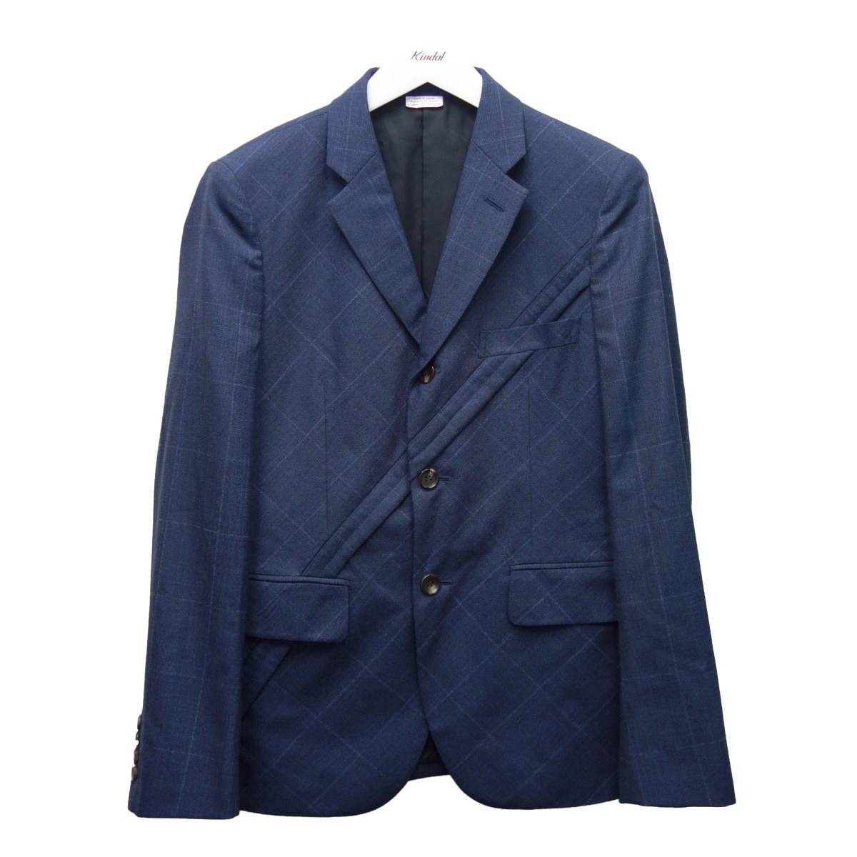 【中古】COMME des GARCONS HOMME DEUX 20AW バイアスデザインジャケット ネイビー サイズ:XS 【010920】(コムデギャルソンオムドゥ)
