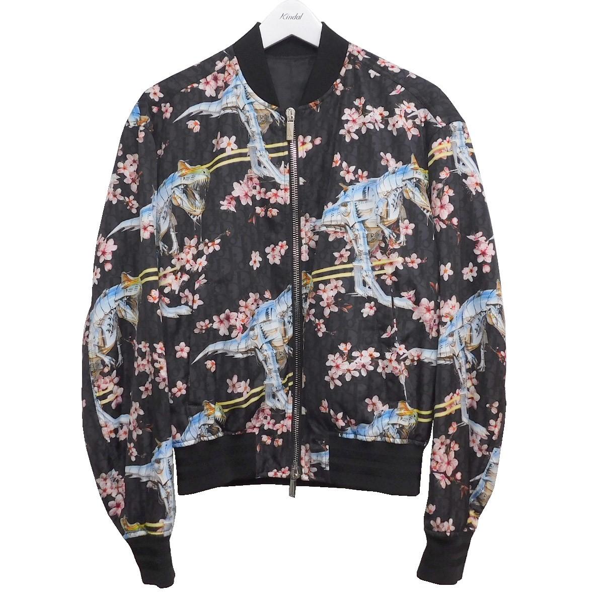 【中古】Dior Homme×SORAYAMA HAJIME 2019AW 桜×ダイナソーロボボンバージャケット ブラック サイズ:48 【310820】(ディオールオム 空山基)