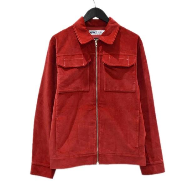 【中古】AFFIX Velvet Two Way Zip Jacket ベロアジャケット レッド サイズ:S 【020920】(アフィックス)