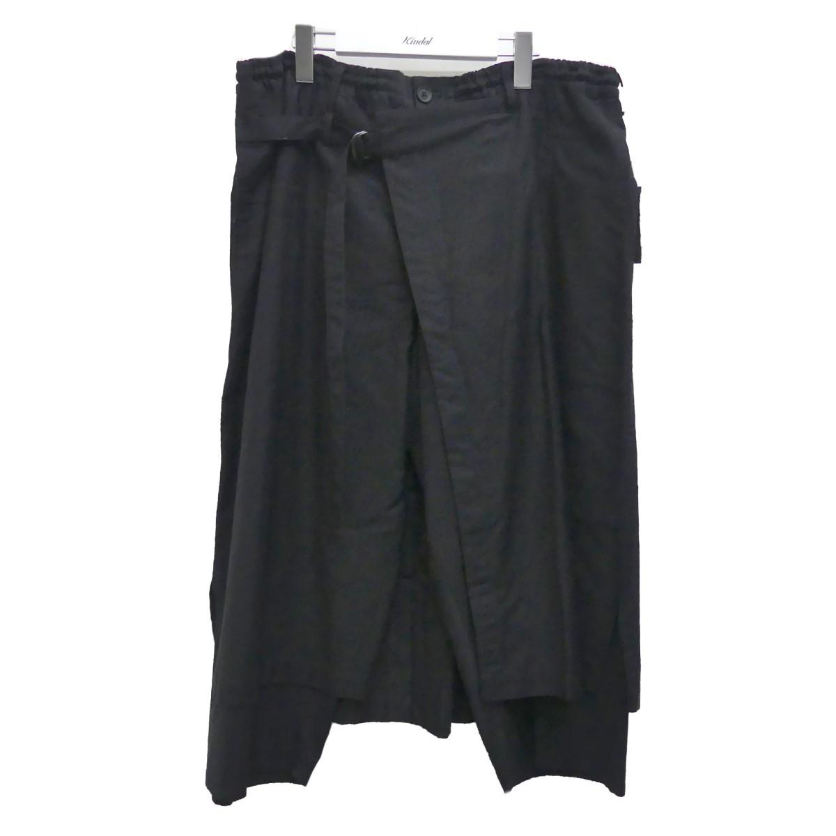 【中古】YOHJI YAMAMOTO pour homme 20SS コットンツイル ラップパンツ ブラック サイズ:3 【020920】(ヨウジヤマモトプールオム)