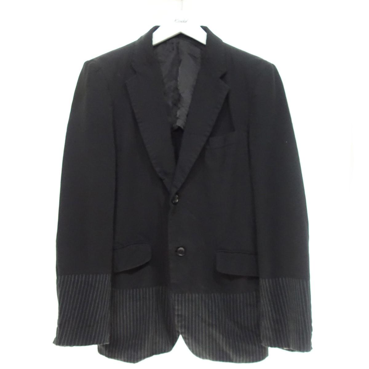 【中古】COMME des GARCONS HOMME 18SS ストライプ切替デザイン2Bテーラードジャケット ブラック サイズ:S 【020920】(コムデギャルソンオム)