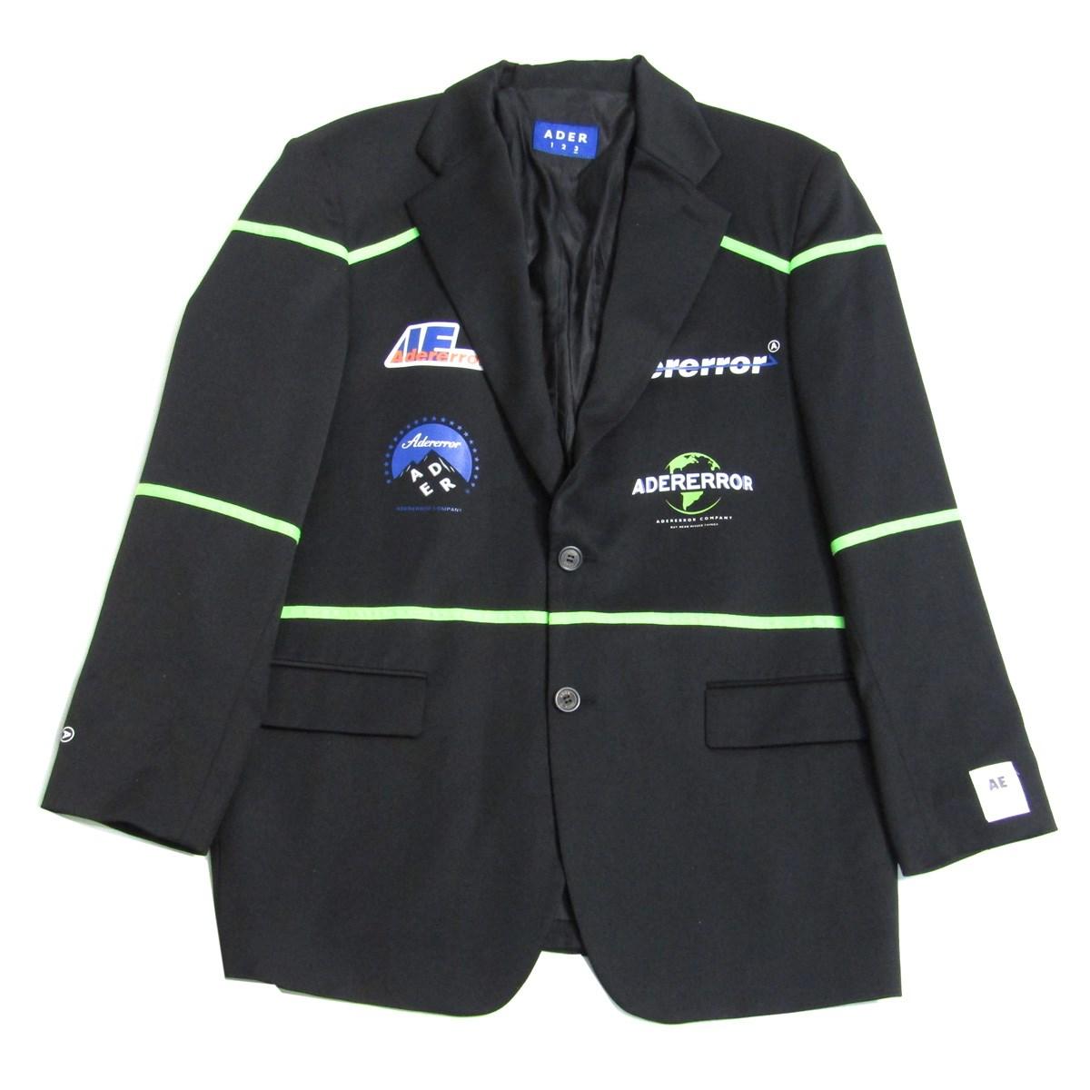 【中古】ADERERROR 2019AW Tailored Jacket ロゴプリント テーラードジャケット ブラック サイズ:FREE 【020920】(アーダーエラー)