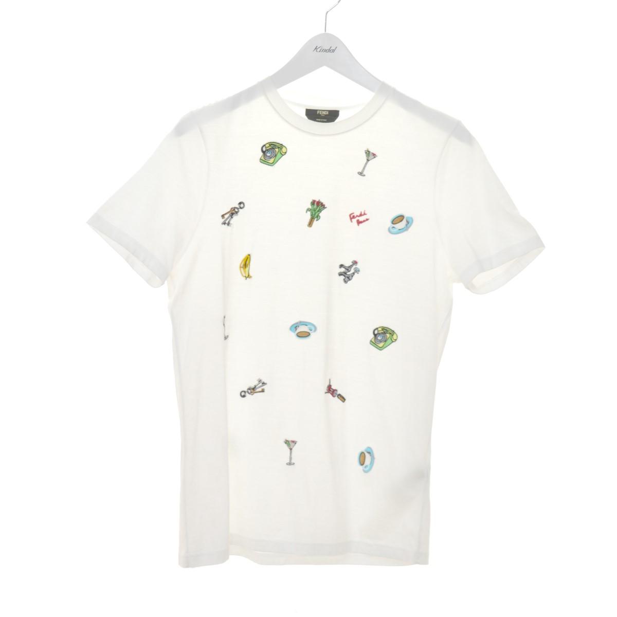 【中古】FENDI マルチワッペン刺繍Tシャツ ホワイト サイズ:44 【040920】(フェンディ)