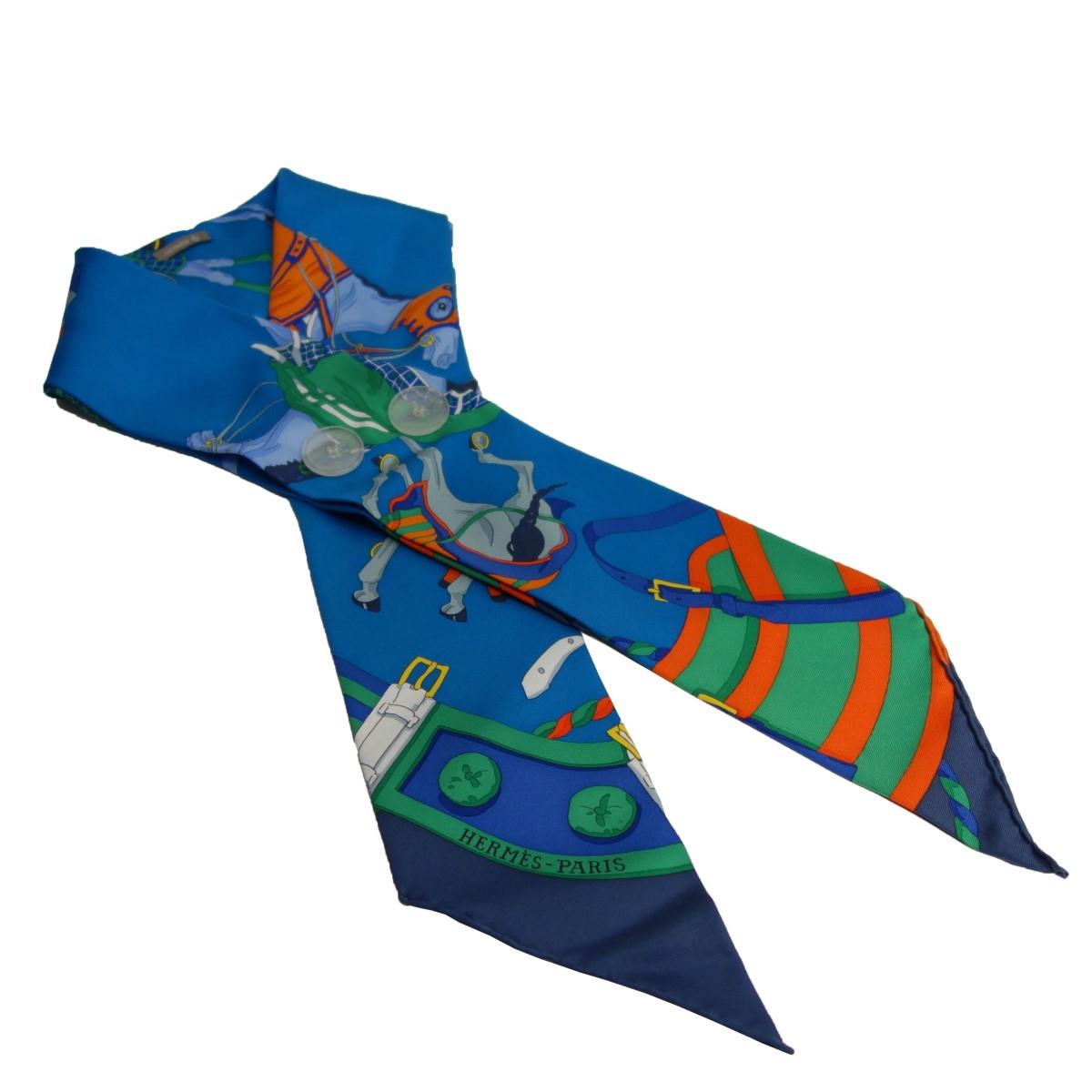 エルメス ギフト 中古 信頼 HERMES ツイリー ブルー 110920 シルクスカーフ