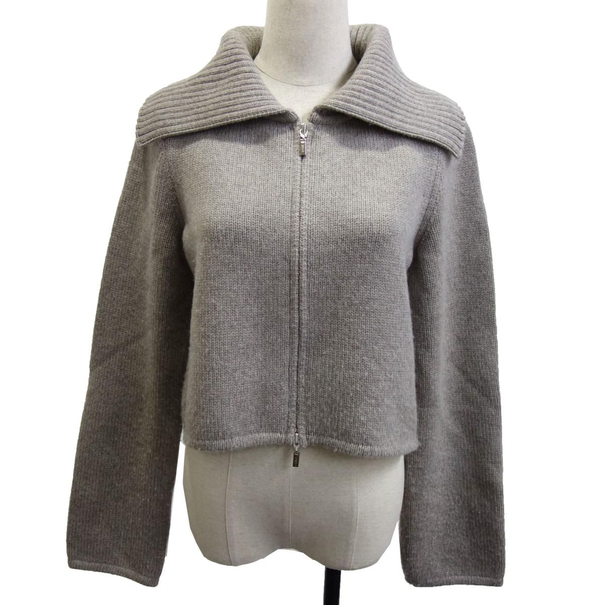 【中古】FOXEY 39112 「Knit Jacket Biscuit」 ニットジャケット グレー サイズ:40 【150920】(フォクシー)