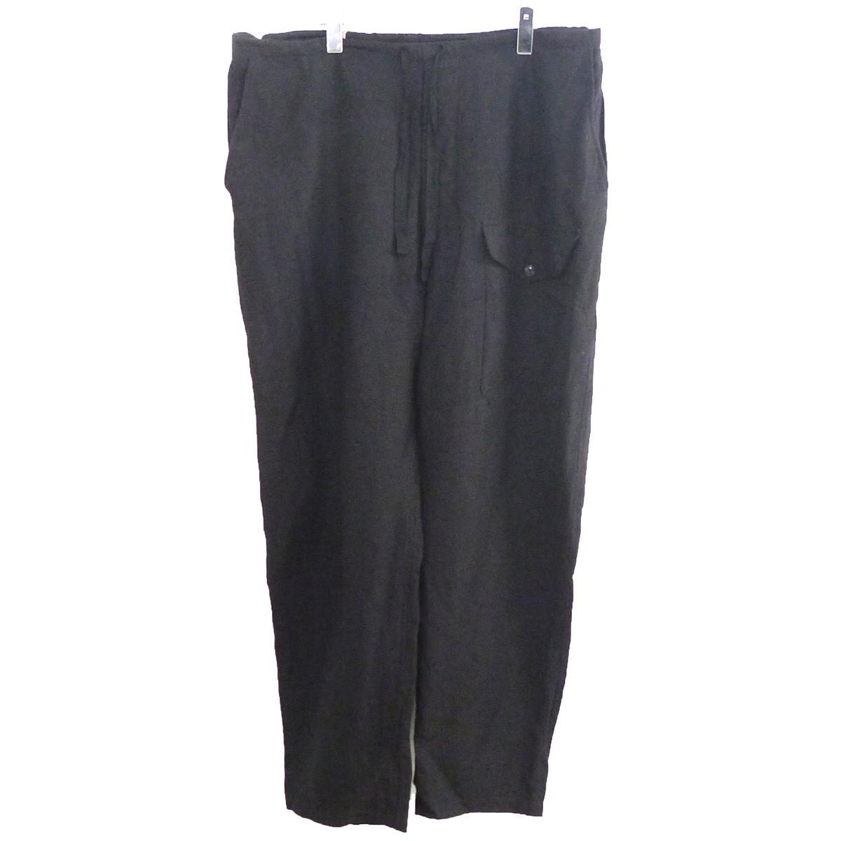 【中古】COMOLI 20SS ヴィスコースリネンドローストリングパンツ ブラック サイズ:3 【170920】(コモリ)