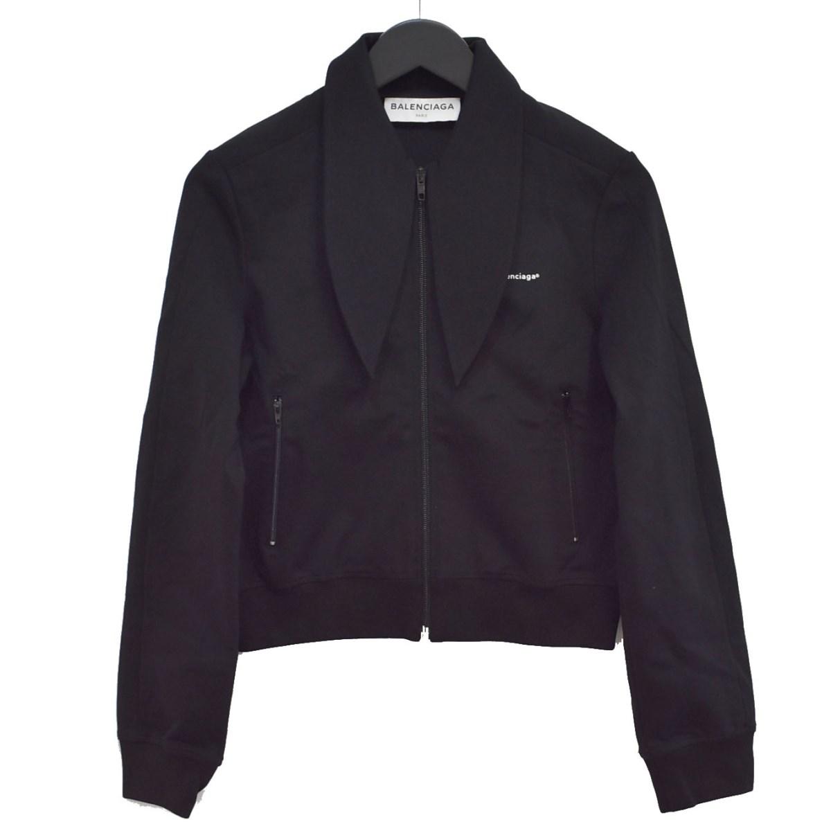 【中古】BALENCIAGA 17AW スカーフカラー トラックジャケット ブラック サイズ:40 【180920】(バレンシアガ)