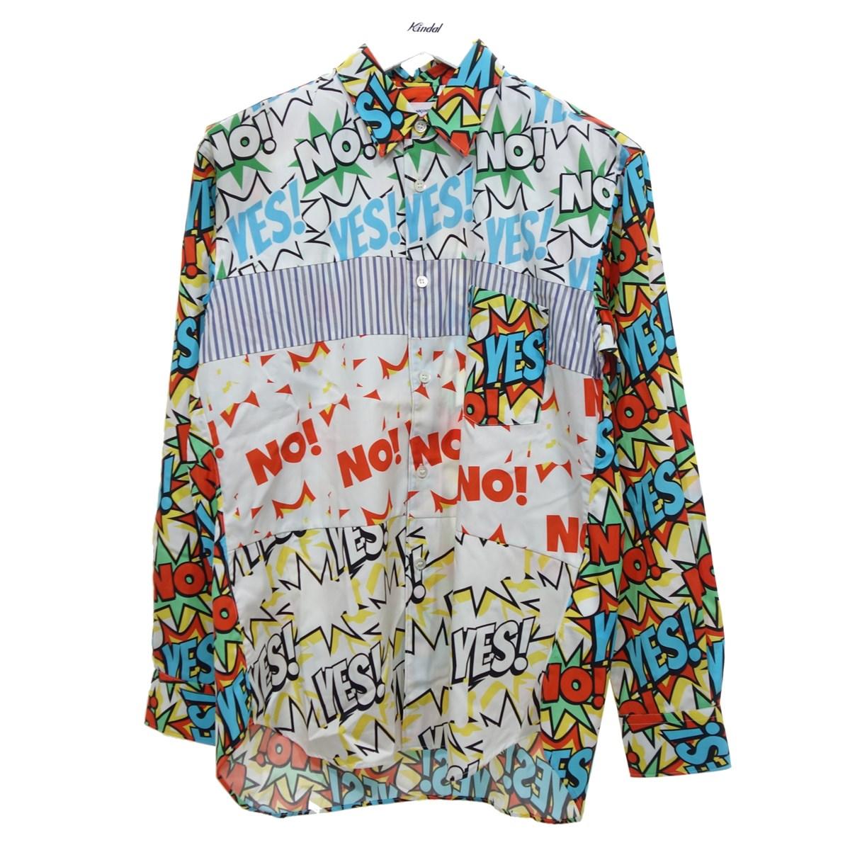 【中古】COMME des GARCONS SHIRT W27025 19AW 切り替えデザインシャツ ホワイト サイズ:XS 【190920】(コムデギャルソンシャツ)