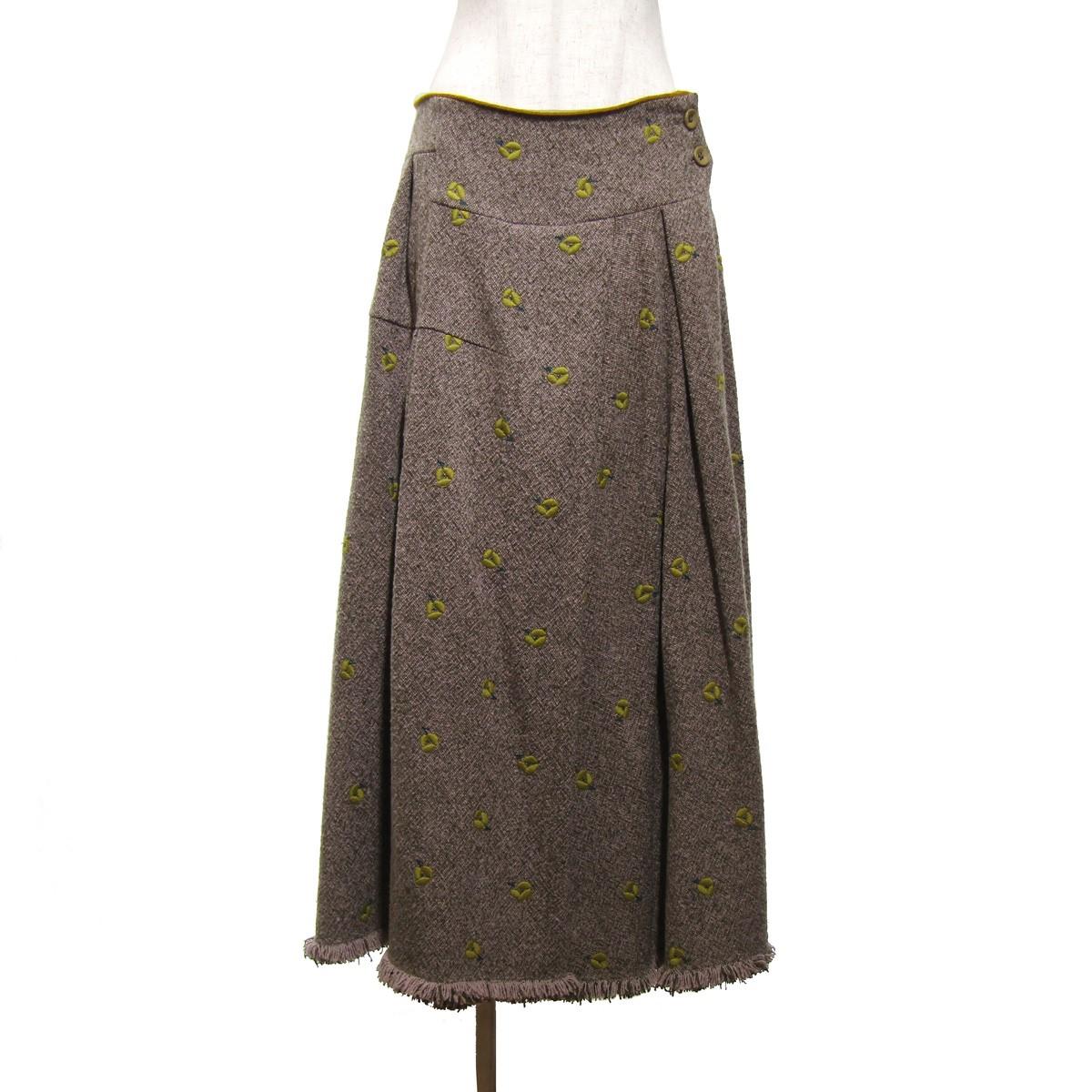 【中古】mina perhonen 2019AW ohayo/刺繍フリンジスカート ブラウン サイズ:40 【190920】(ミナペルホネン)