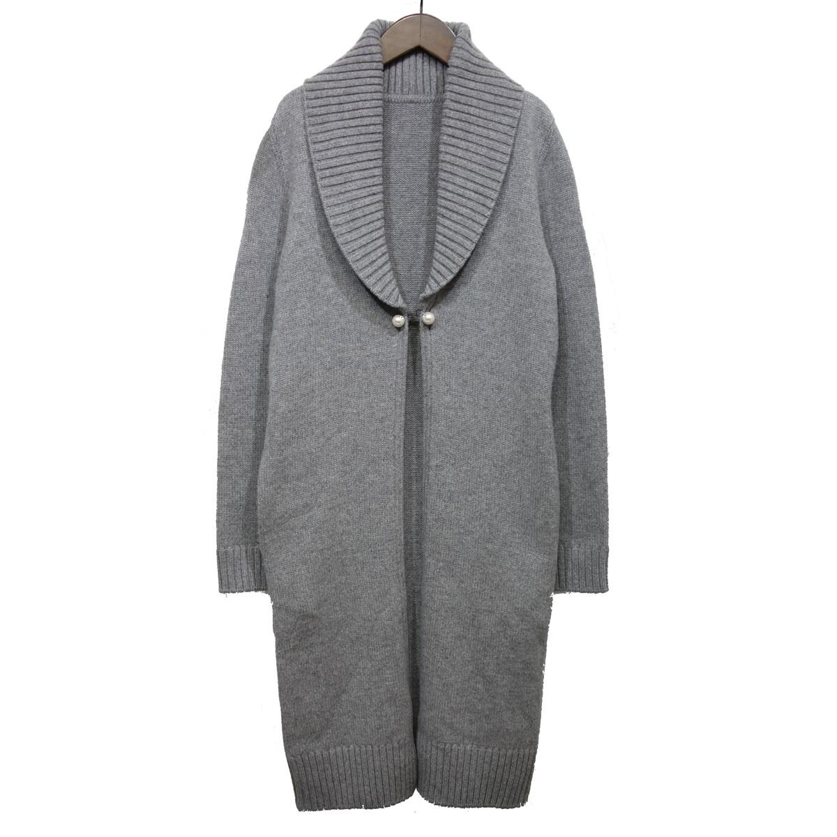 【中古】FOXEY カシミヤ100%ニットジャケット グレー サイズ:38 【190920】(フォクシー)