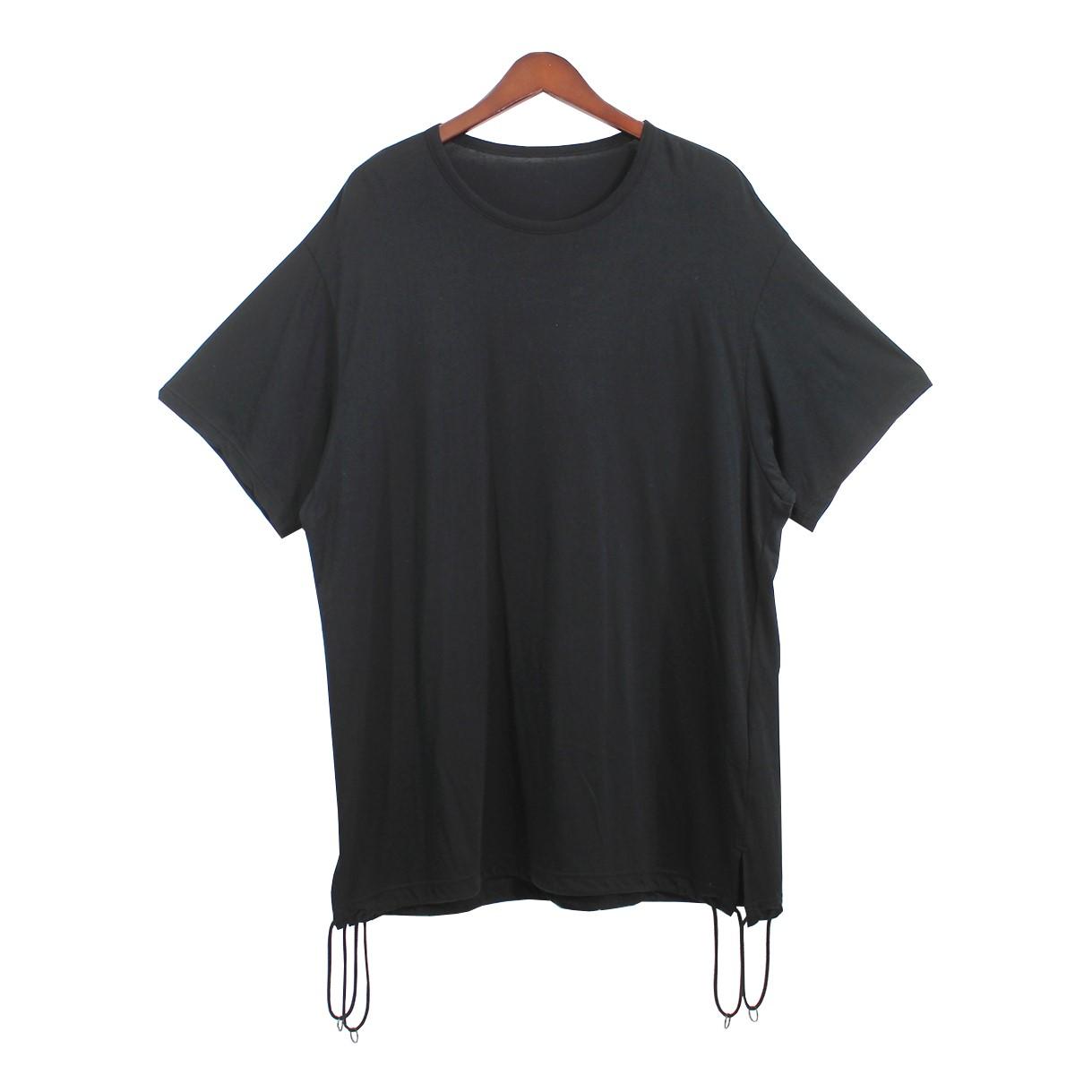 【中古】Ground Y (Yohji Yamamoto) 20SS Aタイドビッグカットソー Tシャツ ブラック サイズ:3 【200920】(グラウンドワイ (ヨウジヤマモト))