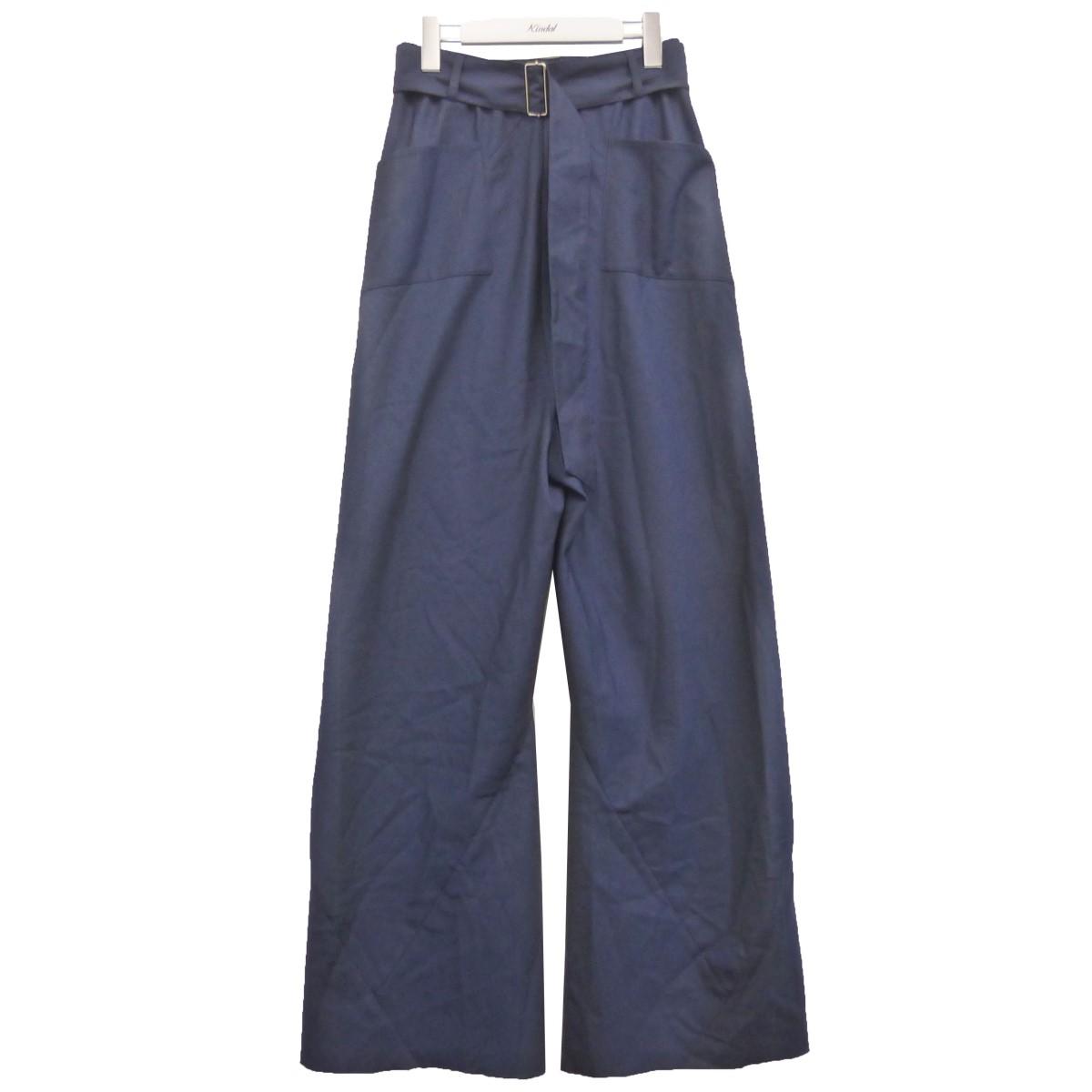 【中古】PERVERZE 18SS「over high waist pants」オーバーハイウエストパンツ ネイビー サイズ:Free 【230920】(パーバーズ)