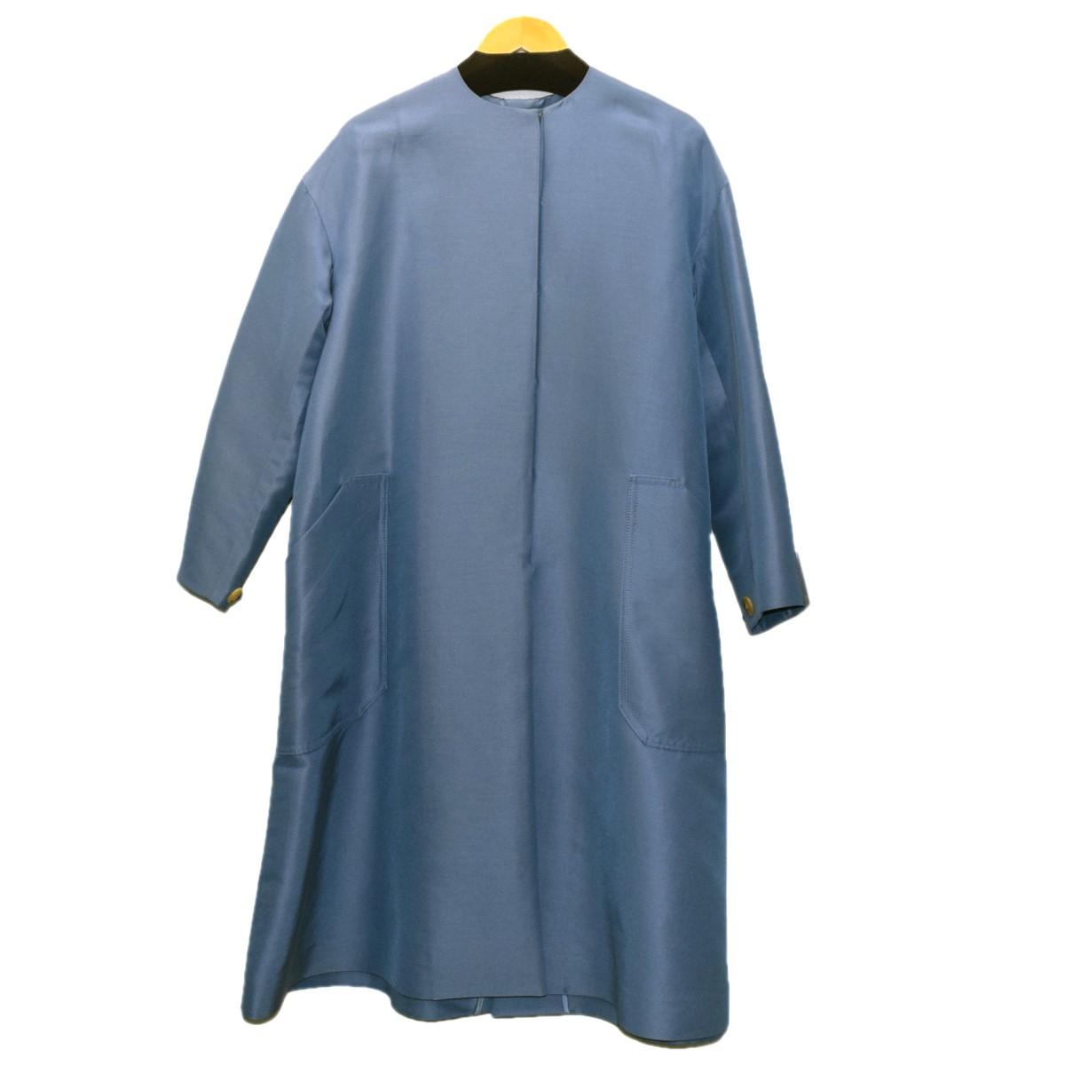 【中古】CYCLAS コットンシルクノーカラーコート ライトブルー サイズ:34 【270920】(シクラス)