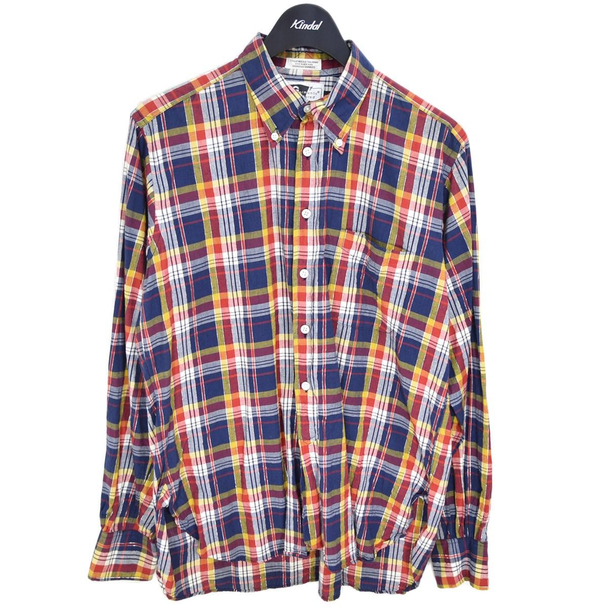 エンジニアードガーメンツ 中古 Engineered Garments 年間定番 SINGLE チェックボタンダウンシャツ NEEDLE 151020 ネイビー×レッド サイズ:S 早割クーポン
