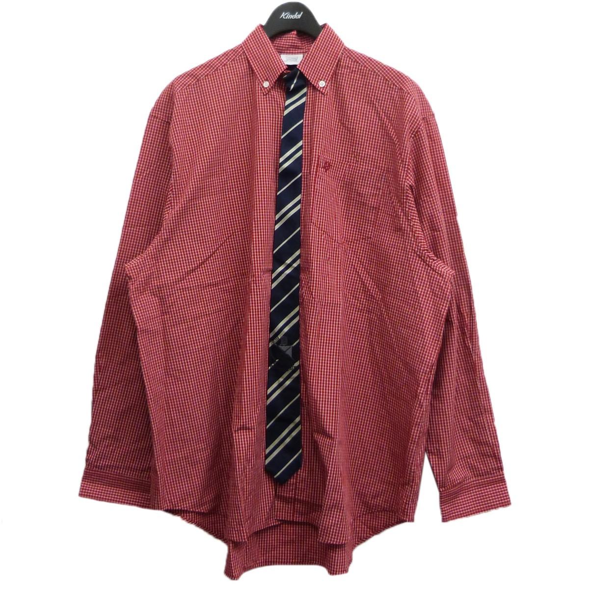 ヴェトモン 中古 VETEMENTS19AW ディスカウント TIE LONGSLEEVE 低廉 SHIRT レッド×ネイビー 6月22日見直し タイドッキングシャツ サイズ:XS
