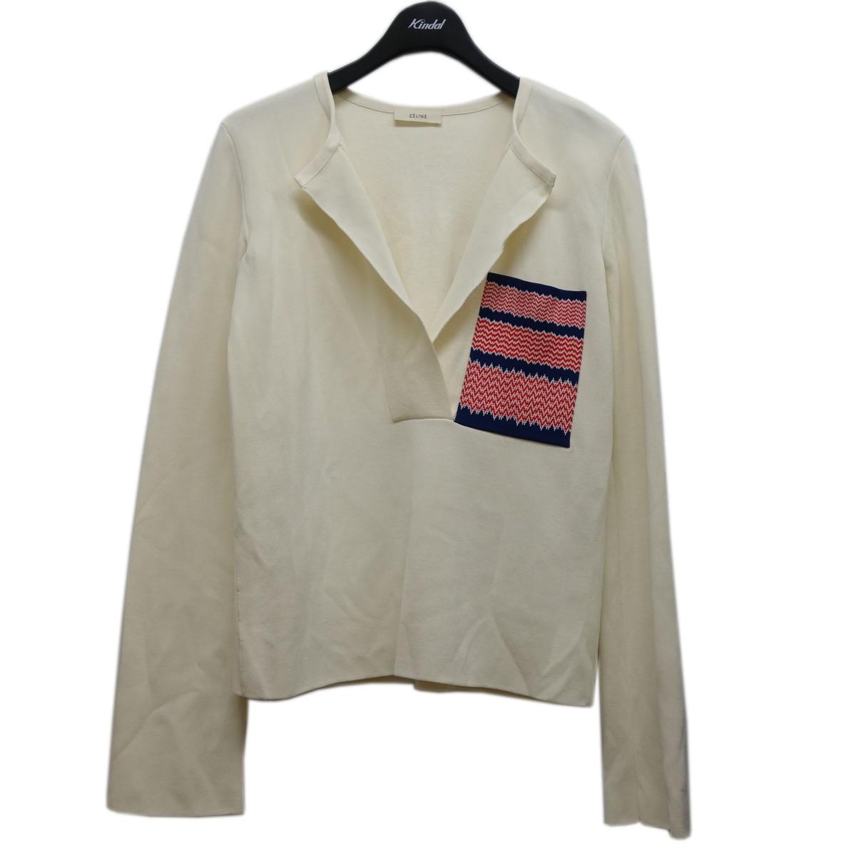 タイム セリーヌ 中古 CELINEフィービー期 お気に入 サイズ:XS 胸ポケットニット ベージュ 大幅にプライスダウン
