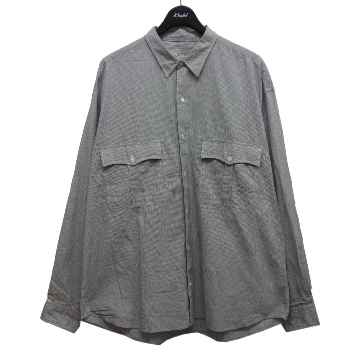 ポータークラシック 即出荷 中古 Porter Classic ROLL UP 081220 SHIRTS グレー×ホワイト お歳暮 サイズ:XL ロールアップシャツ
