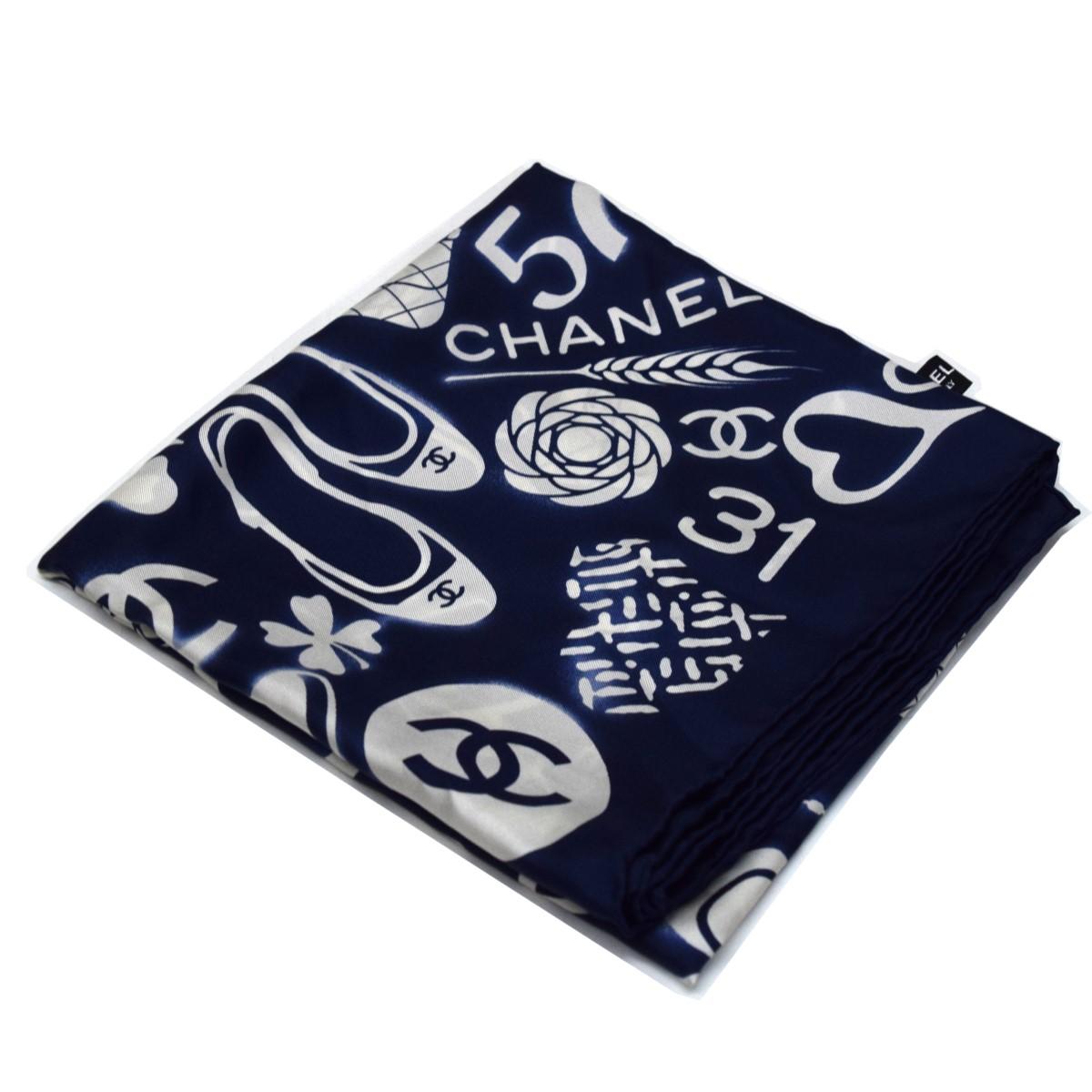 直送商品 タイム シャネル 中古 CHANEL ネイビー 191220 ココマーク総柄スカーフ 正規取扱店