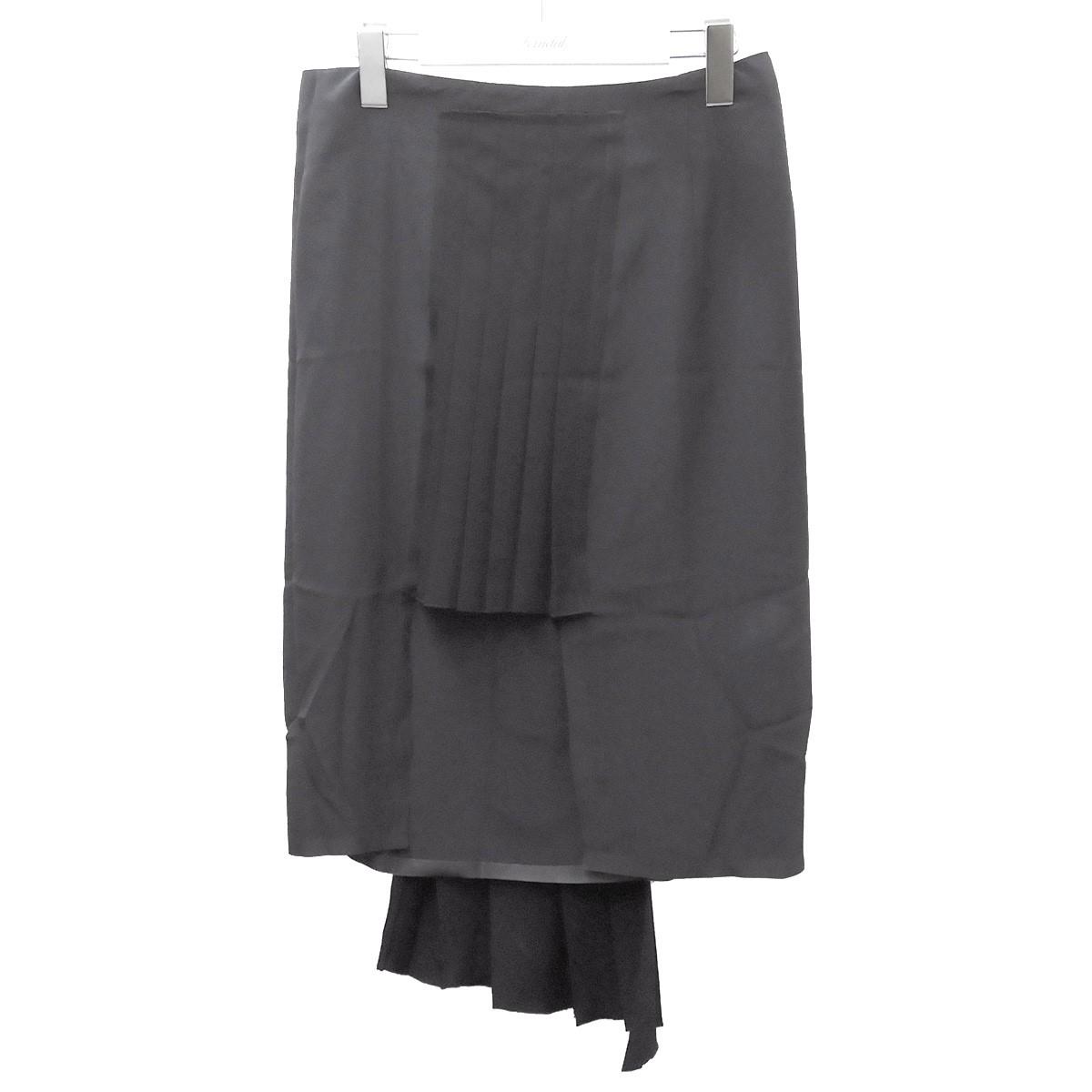現品 マルタンマルジェラ1 特価品コーナー☆ 中古 Martin Margiela1 サイズ:38 251220 ブラック プリーツ切替スカート