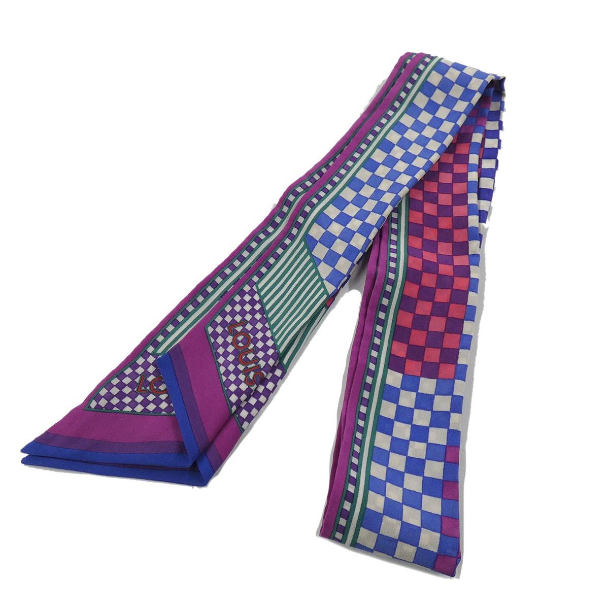 ルイヴィトン 中古 蔵 LOUIS VUITTON バンドー ダミエ 200121 サイズ:- パープル アクアレルシルク 開店祝い スカーフ