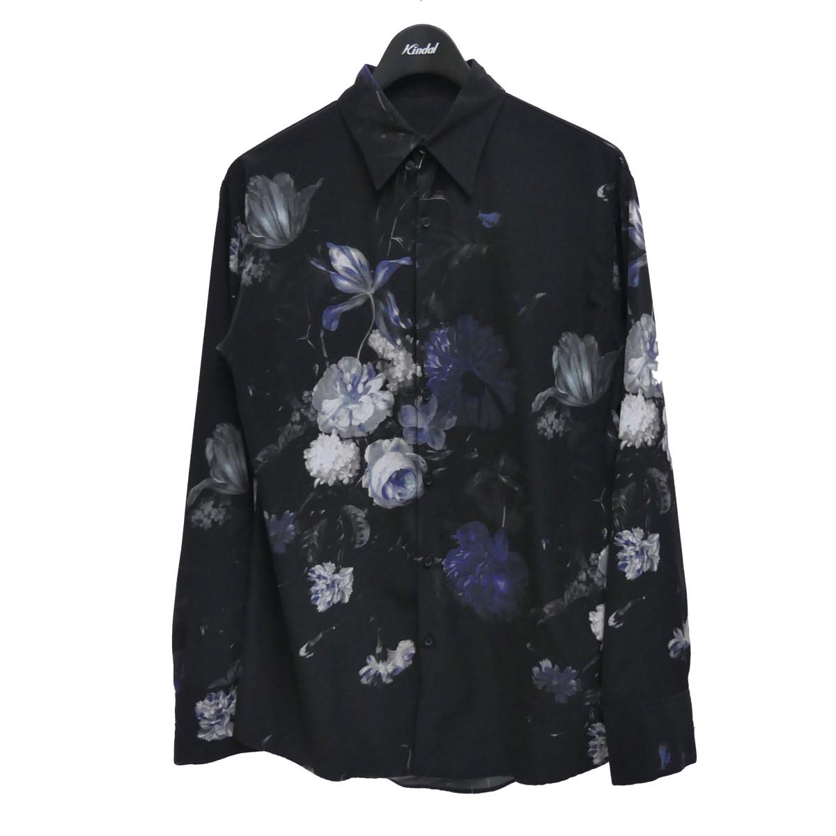 ラッドミュージシャン 中古 LAD MUSICIAN 超人気 DECHINE STANDARD SHIRT 210121 ブラック 出色 花柄シャツ FLOWER サイズ:44 INKJET