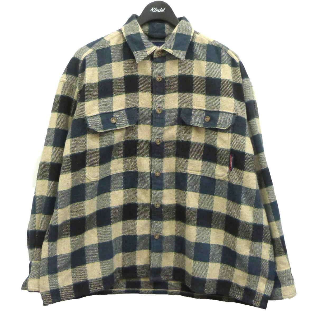 ディセンダント 中古 毎日がバーゲンセール DESCENDANT 20AW VANING CHECK ネイビー×ベージュ チェックシャツ サイズ:1 220121 SHIRT LS 登場大人気アイテム