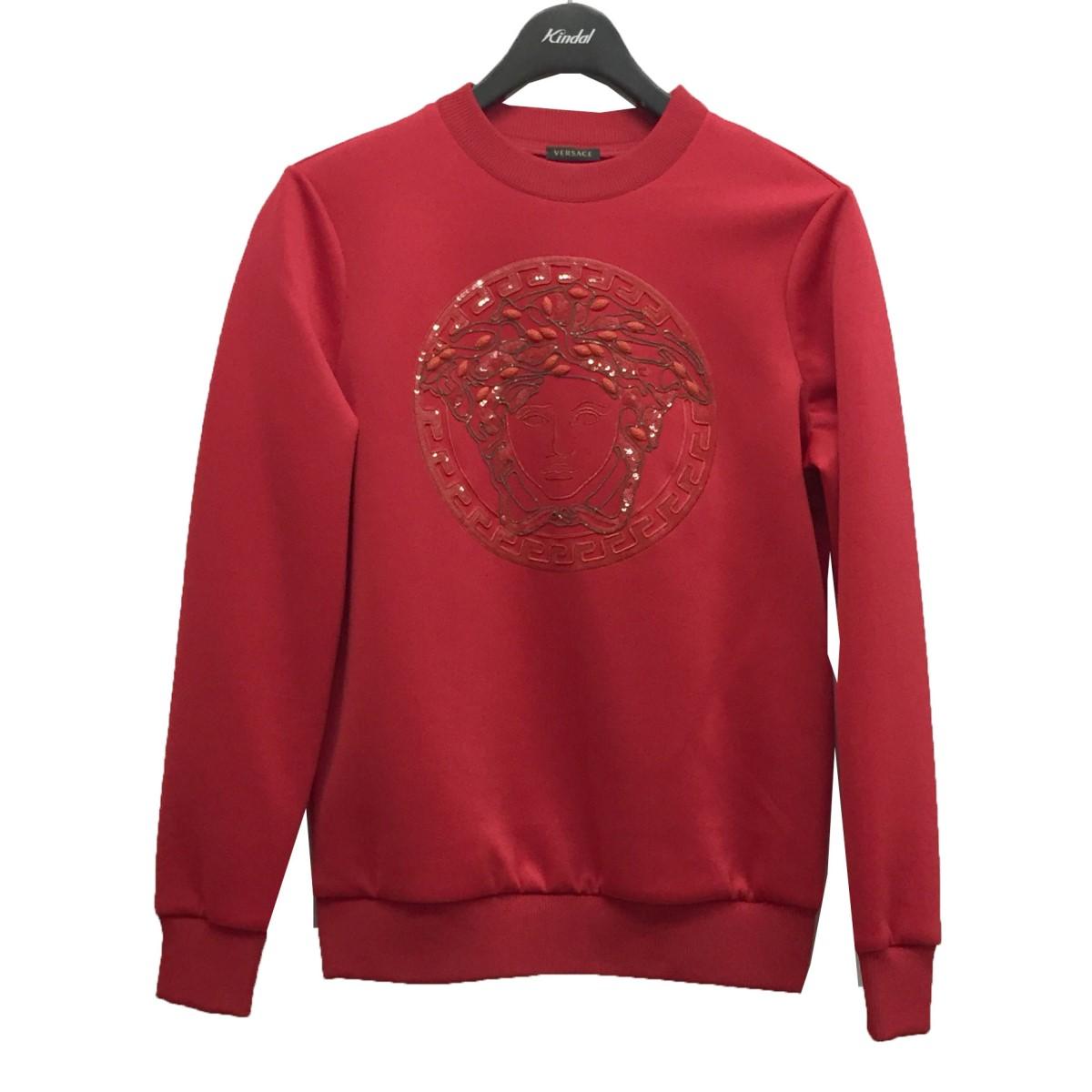 ヴェルサーチ セール商品 中古 ご注文で当日配送 VERSACE メデューサ刺繍トップス サイズ:38 300121 レッド