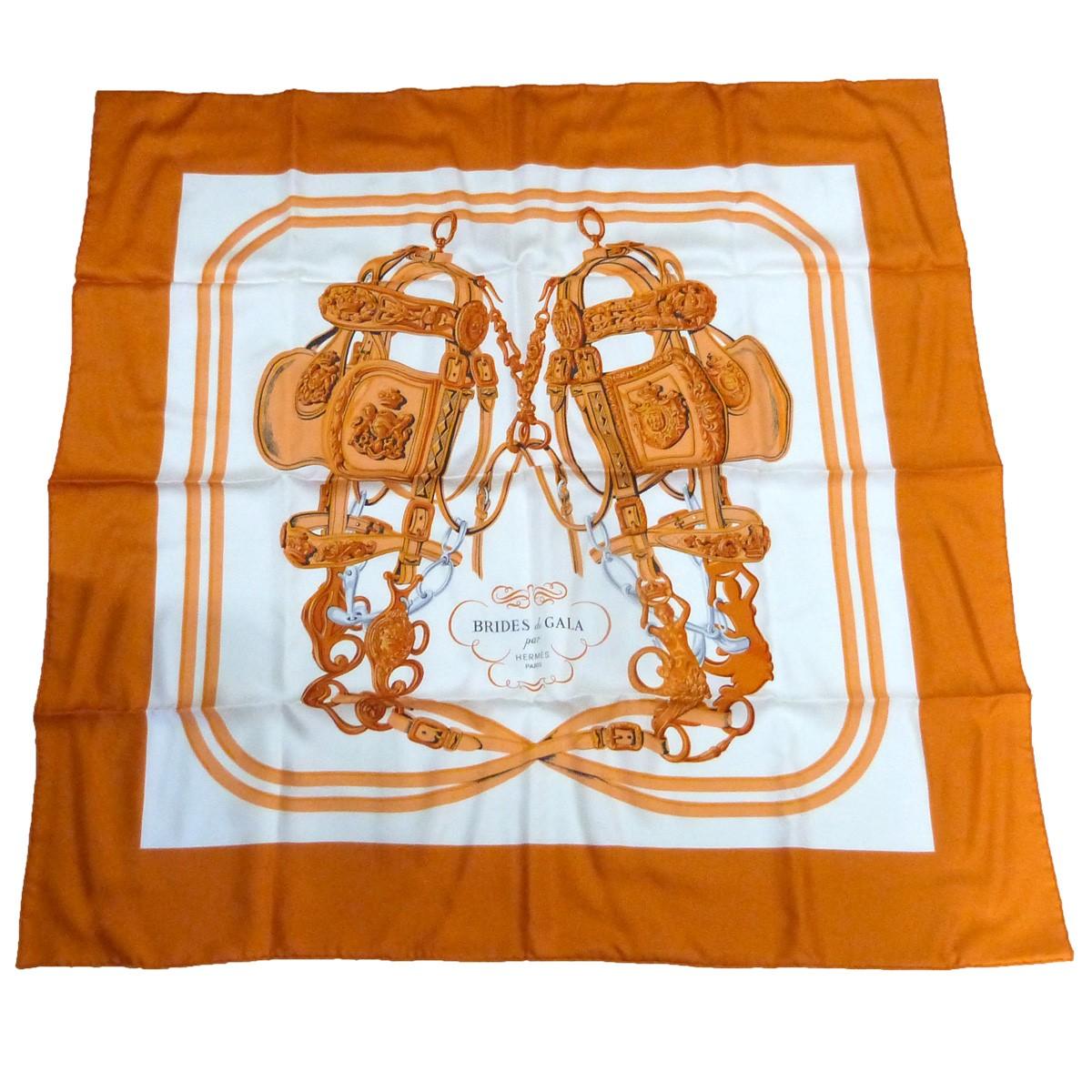 大規模セール エルメス 中古 HERMES トラスト BRIDES DE GALA カレ90ブリッジデガラシルクスカーフ サイズ:- オレンジ×ホワイト 120221