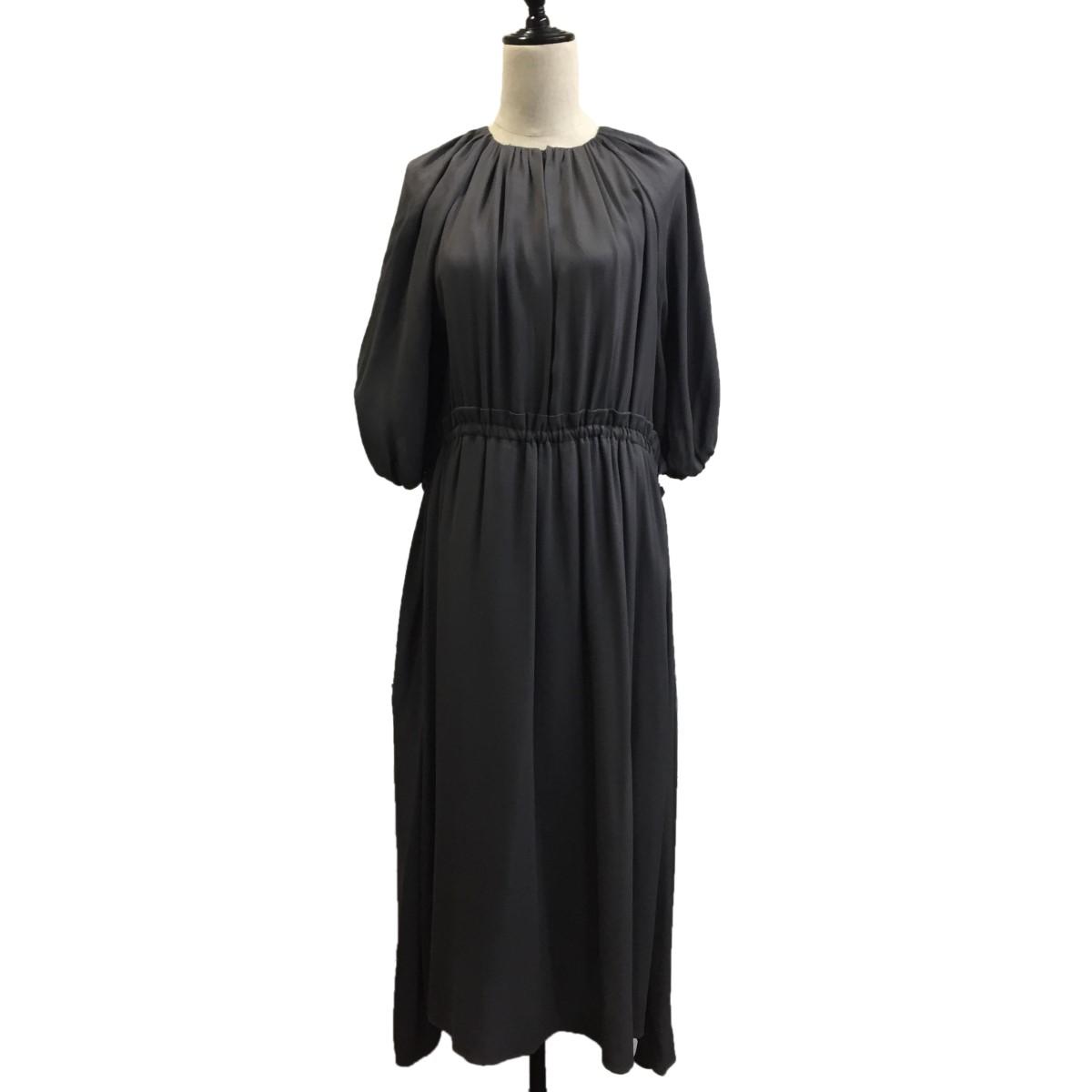 ドゥロワー 中古 休み 永遠の定番 DRAWER ノーカラーギャザードレス サイズ:36 グレー 170221