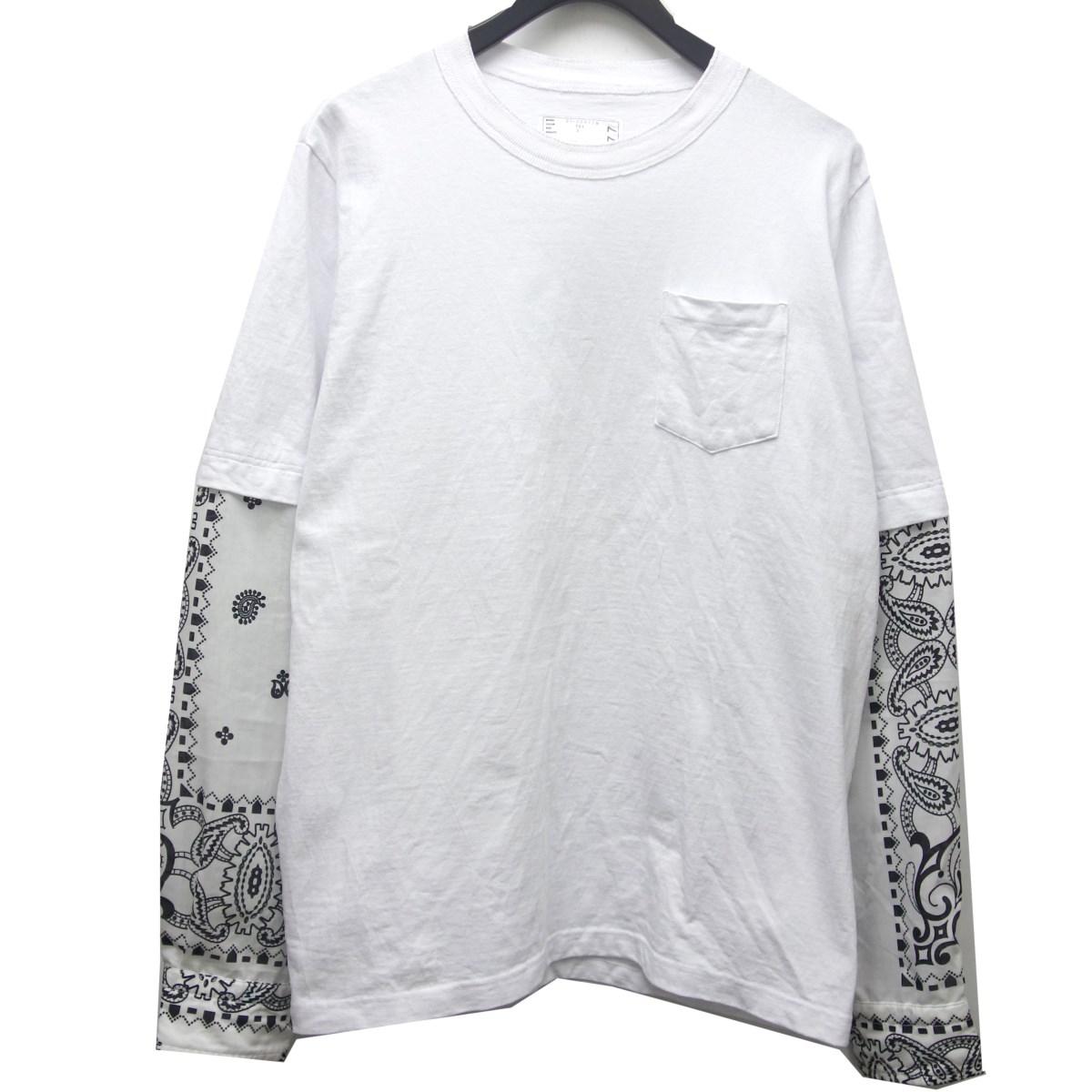 サカイ 中古 sacai 21SS Archive Print オンライン限定商品 Mix ホワイト サイズ:3 T-Shirt 時間指定不可 Long 190221 Sleeve