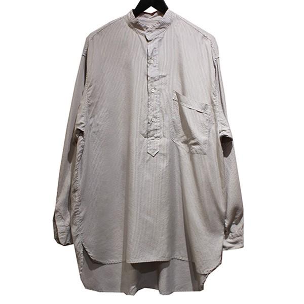 コモリ 中古 COMOLI 19AW シルクプルオーバーシャツ 人気海外一番 倉庫 210221 ストライプ サイズ:3 STRIPE グレー