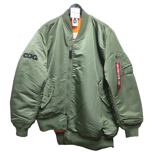 シーディージー アルファインダストリーズ 中古 日本製 CDG × ALPHAINDUSTRIES オリーブ 日本全国 送料無料 AD2019リバーシブルカスタムMA-1ジャケット サイズ:XL 080321