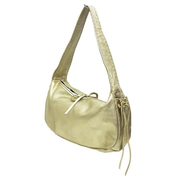 プラダ 驚きの価格が実現 中古 PRADA ゴールド 国内正規品 シャンパンゴールドハンドバッグ 100321