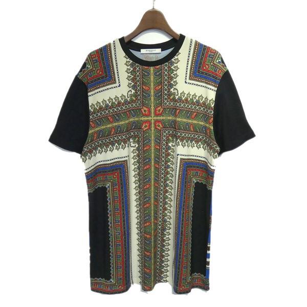 ジバンシィ 中古 GIVENCHY スカーフ柄Tシャツ サイズ:XS 新品未使用正規品 ブラック 220521 開店記念セール