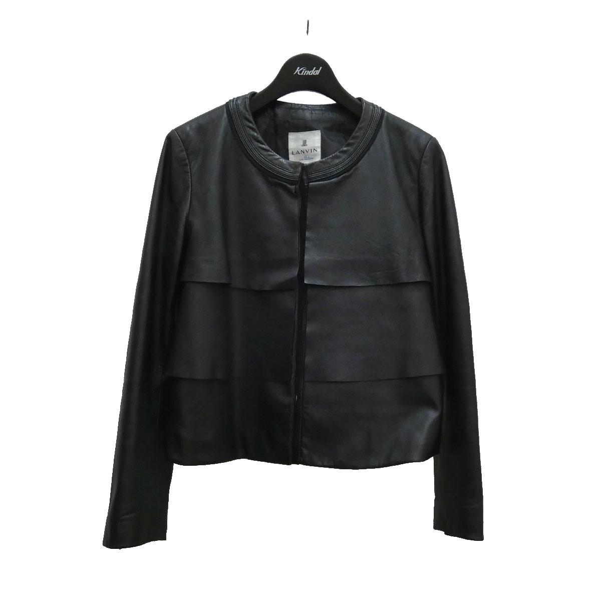 ランバンオンブルー 中古 LANVIN en Bleu 230521 レザージャケット ブラック 贈答品 安い サイズ:36