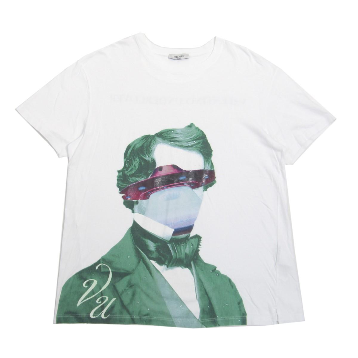 ヴァレンチノ × アンダーカバー 中古 VALENTINO UNDERCOVER2019AW V face UFO print 8月2日見直し T-Shirt サイズ:S 舗 2020 新作 ホワイト 半袖プリントTシャツ