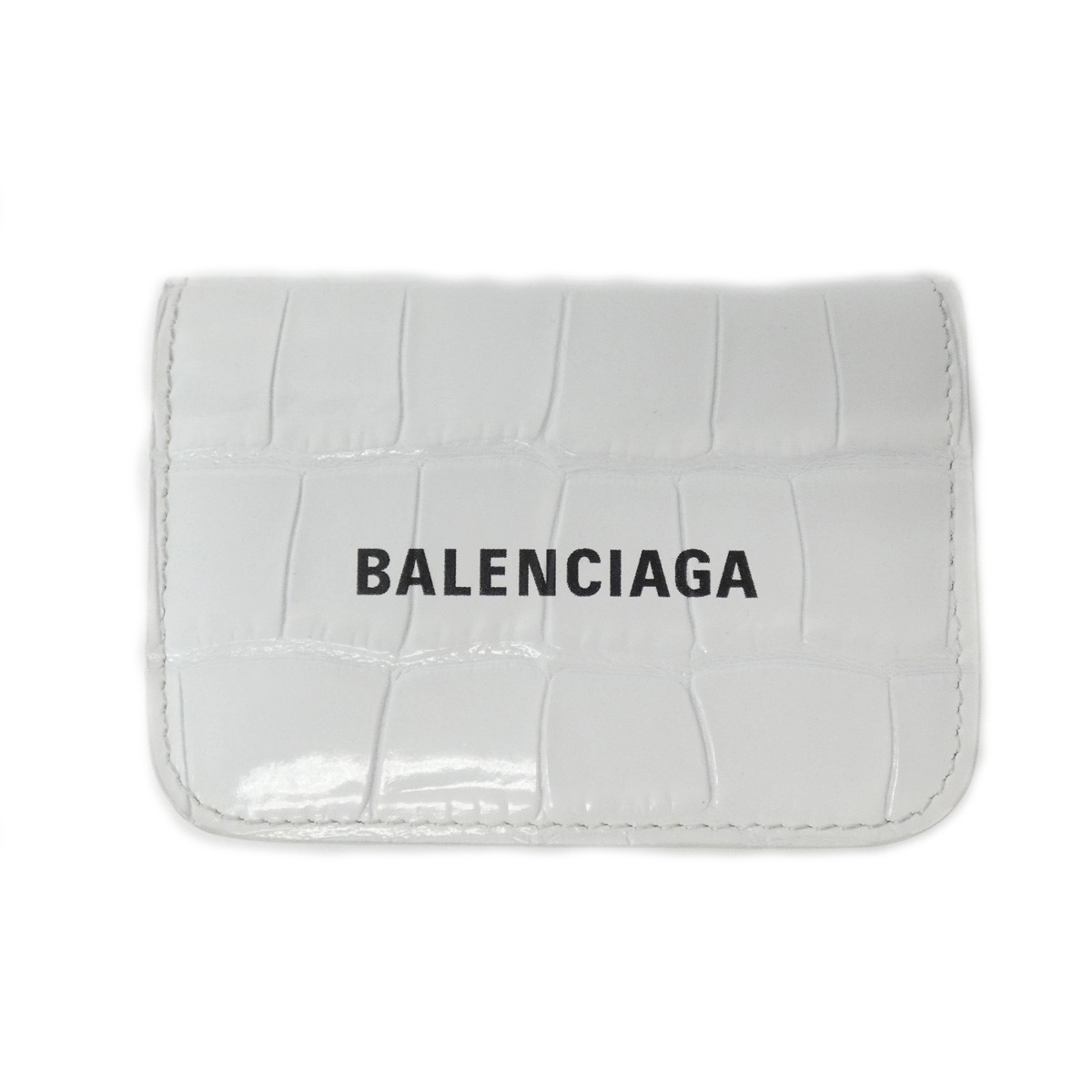 バレンシアガ 中古 BALENCIAGA キャッシュミニ クロココンパクトウォレット ホワイト サイズ:- 贈答 絶品 240721