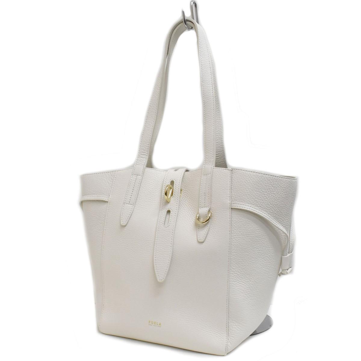 フルラ 中古 FURLA ホワイト 130821 高い素材 推奨 レザートートバッグ