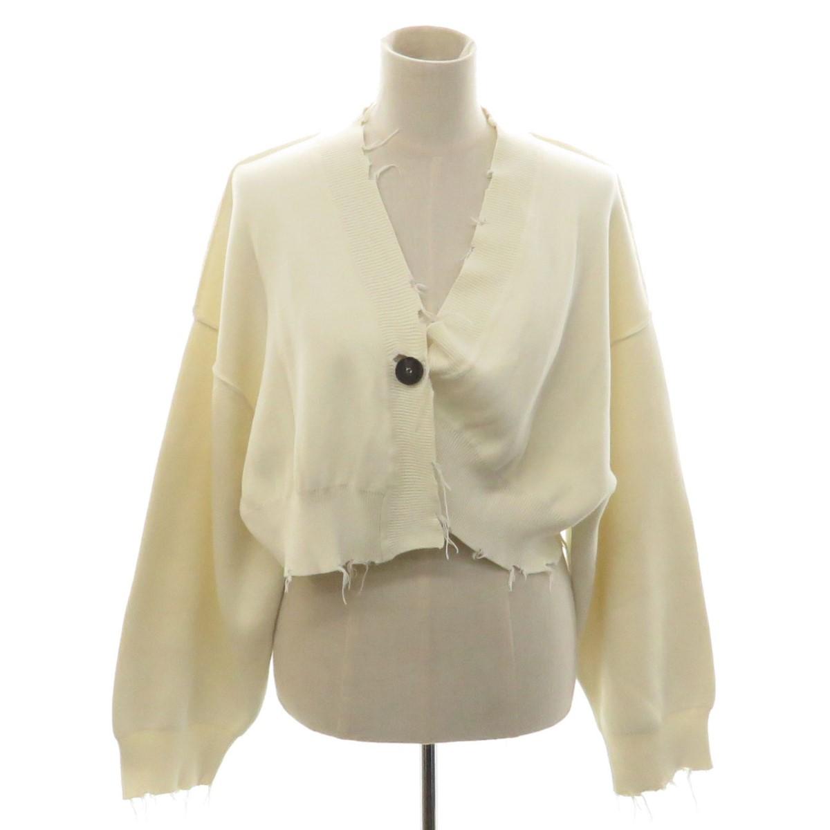パーパーズ 中古 PERVERZE Crash 商品 Short Knit サイズ:F 170921 ダメージアシンメトリーショートニットカーディガン アイボリー Cardigan 即出荷