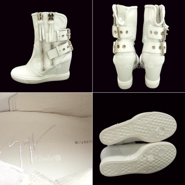 9f9f43a5e3914 GIUSEPPE ZANOTTI DESIGN double zip design leather boots white size: 35 ( Giuseppe ザノッティデザイン)