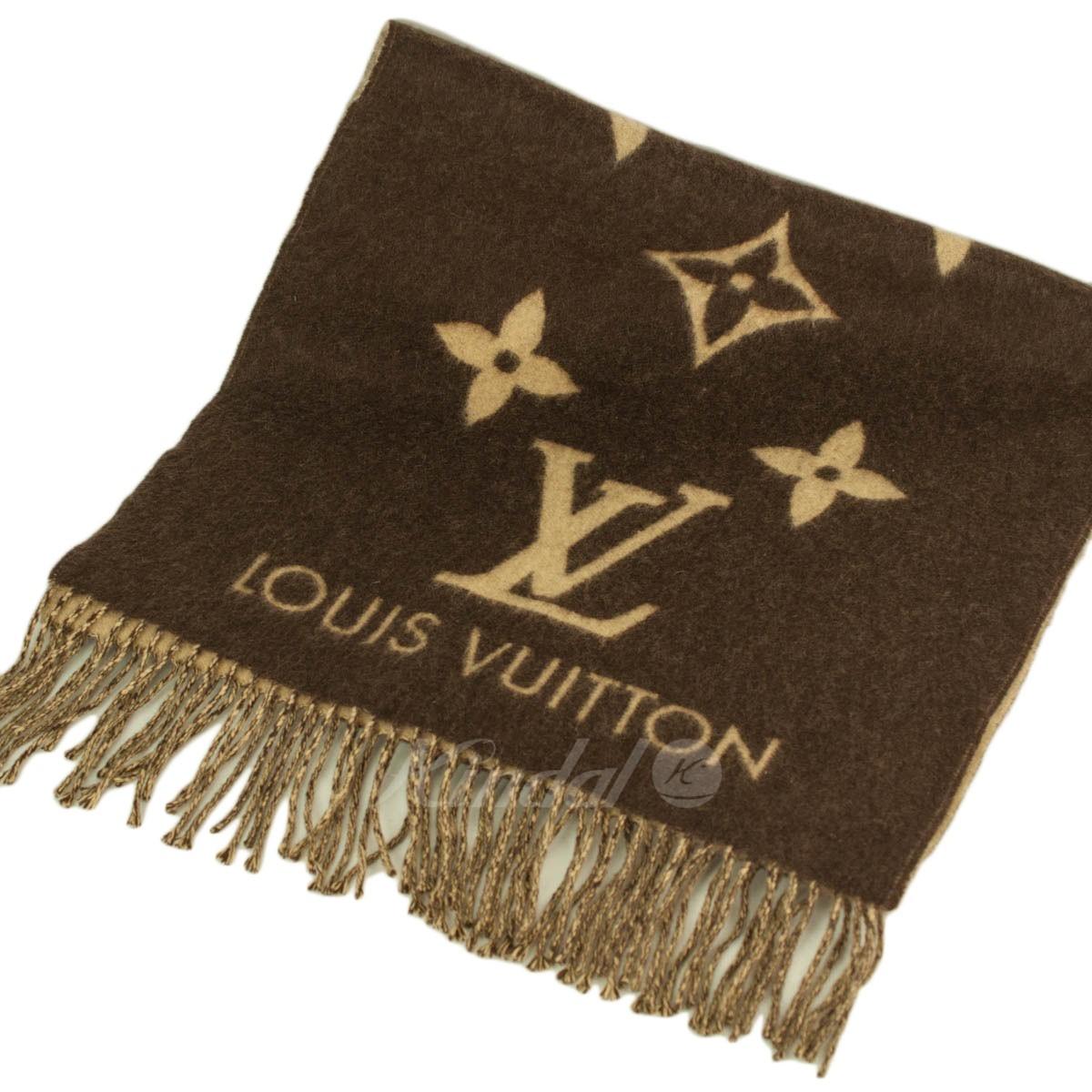 【中古】LOUIS VUITTON M71048 モノグラム カシミヤマフラー ブラウン/ベージュ 【送料無料】 【041018】(ルイヴィトン)