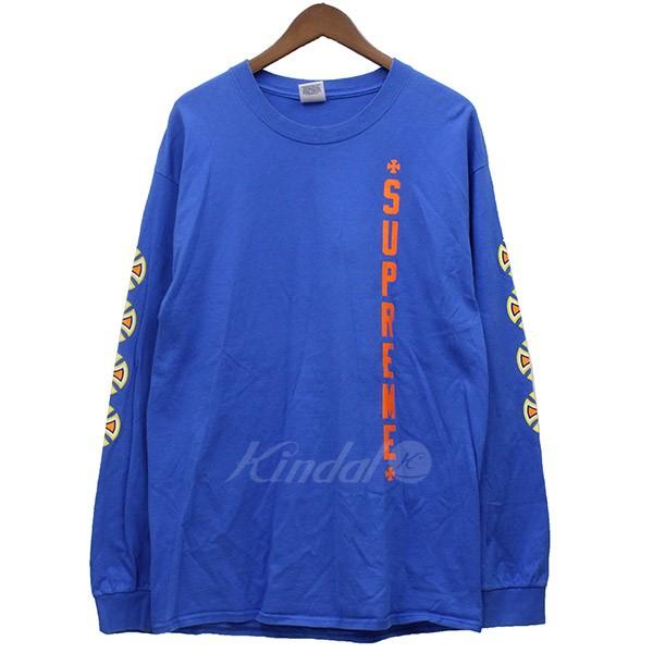 【10月15日 お値段見直しました】【中古】Supreme×Independent2012SS プリント ロンT Tシャツ ブルー サイズ:L 【送料無料】