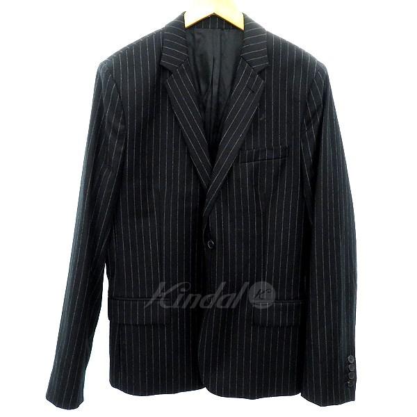 【中古】AMI Alexandre Mattiussi 15AW ウールストライプテーラードジャケット ブラック サイズ:50 【送料無料】 【041018】(アミアレクサンドルマテュッシ)