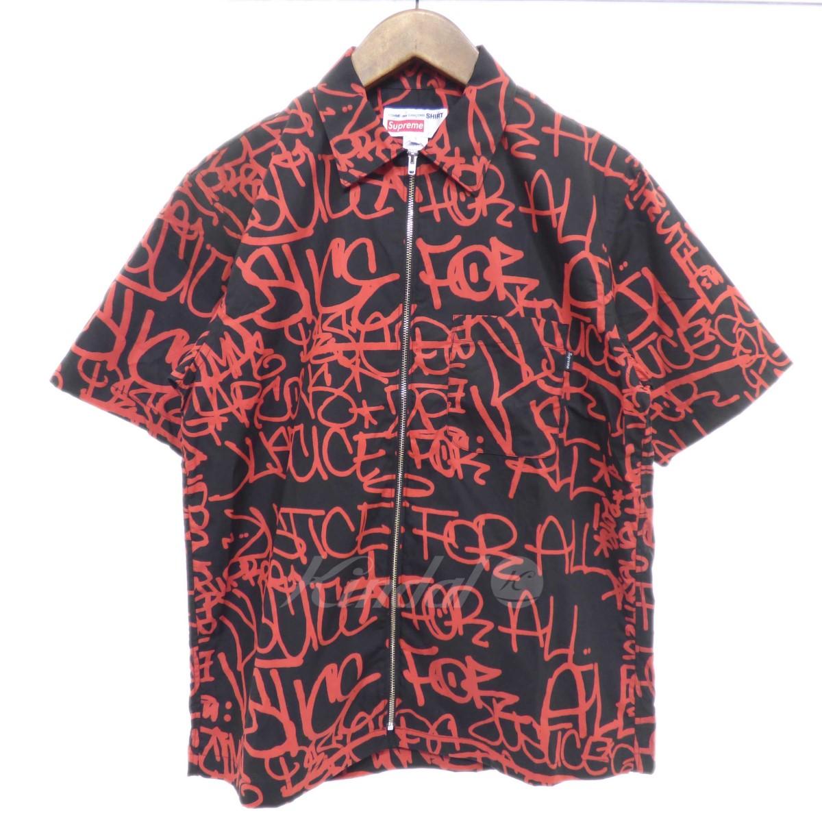 【中古】Supreme×COMME des GARCONS SHIRT 【2018A/W】Graphic S/S Shirt ブラック×レッド サイズ:S 【送料無料】 【041018】(シュプリーム×コムデギャルソンシャツ)