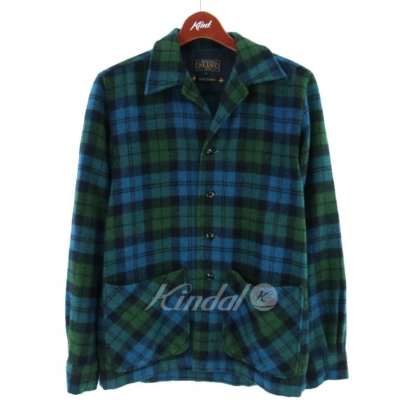 BEAMS PLUS オープ ん color checked pattern flannel shirt blue X green other  size: small