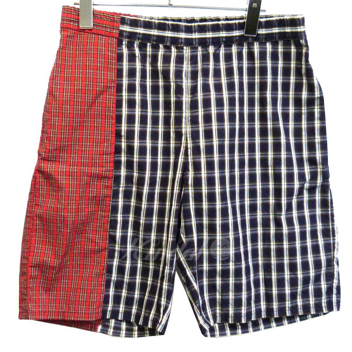 【中古】Gosha Rubchinskiy 【18SS】「checked bermuda shorts」バミューダパンツ ネイビー×レッド サイズ:M 【送料無料】 【131218】(ゴーシャラブチンスキー)